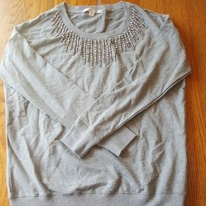 Boston Proper Oversized Jeweled Grey Sweatshirt S